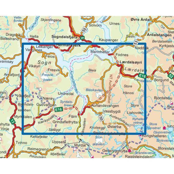 Nærøyfjorden Topo 3000 Hiking map