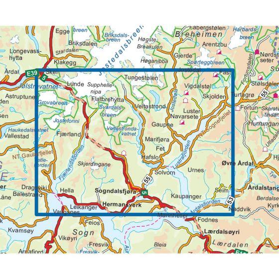 Sogndal - Leikanger Topo 3000 Wanderkarte