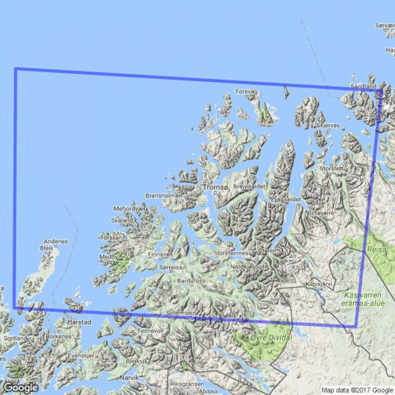 Map area for Tromsø 1:250 000  map