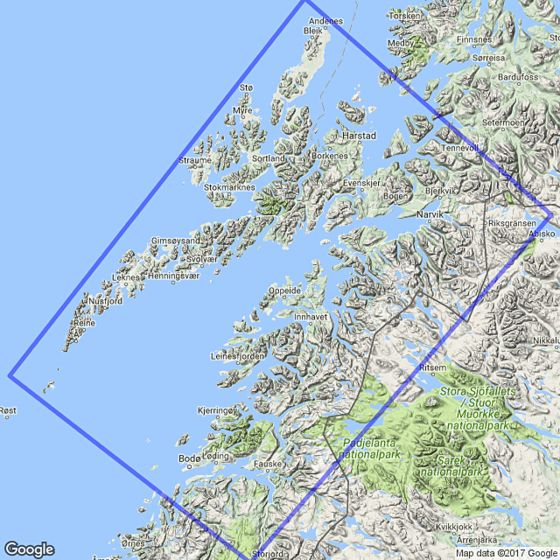 Map area for Lofoten 1:250 000  map