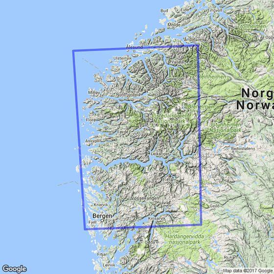 Map area for The fjords / Vestlandet 1:250 000  map
