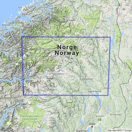 Dekningsområdet The mountains / Gudbrandsdalen 1:250 000 kartet