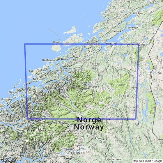 Map area for The Atlantic Coast /  Dovrefjell 1:250 000  map